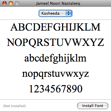 Installing Urdu and Arabi Font on Mac